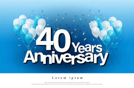 40th years anniversary greeting card lettering template with balloon and confetti. Design for invitation card, banner, web, header and flyer. vector illustrator