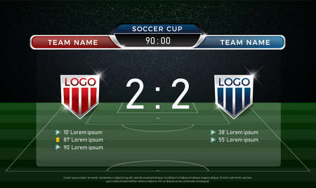 soccer scoreboard team A vs team B strategy broadcast graphic template, football score for web, poster, banner. Ilustração