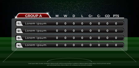 Group A football scoreboard and global stats broadcast graphic soccer template