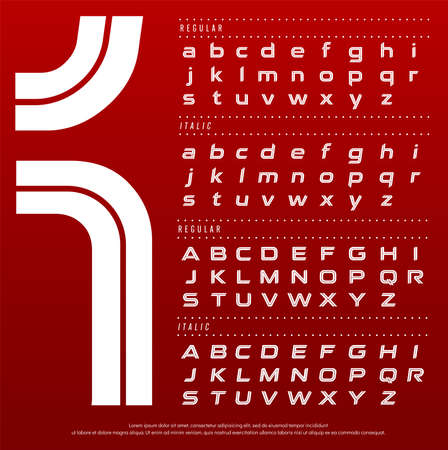 sport and technology alphabet font concept. Typography modern style red color font collection set. Çizim