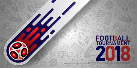 2018 world championship football cup on white background. Poster soccer template Ilustração
