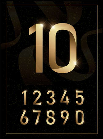 Elegant golden metal numbers. Vector illustration