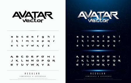Technology alphabet silver metallic and effect designs for logo, Poster, Invitation. Exclusive Letters Typography regular font digital and sport concept. Logo