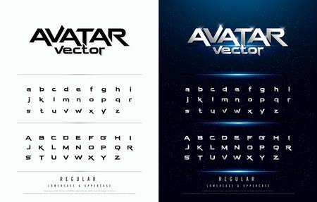 Tecnologia alfabeto argento metallizzato e disegni effetto per logo, poster, invito. Lettere esclusive Tipografia carattere normale concetto digitale e sportivo. Logo