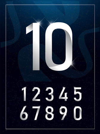 Elegant silver metal numbers. 1 to 10. Silver number typeface glowing text effect. Vector illustration.