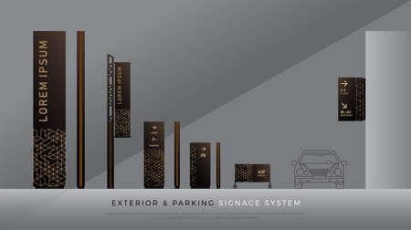 Signalisation extérieure et de stationnement. direction, poteau, support mural et ensemble de modèles de conception de système de signalisation routière. espace vide pour logo, texte, identité visuelle couleur.
