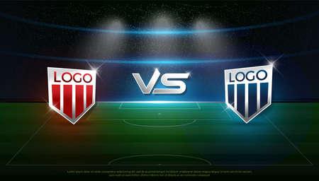 Plantilla de difusión de estrategia del equipo A vs equipo B del marcador de fútbol, puntaje de fútbol para web, póster, pancarta. ilustración vectorial