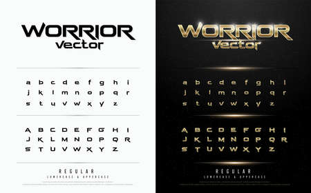 Exclusive gold Letters Typography regular font digital and sport concept. vector illustration Vettoriali