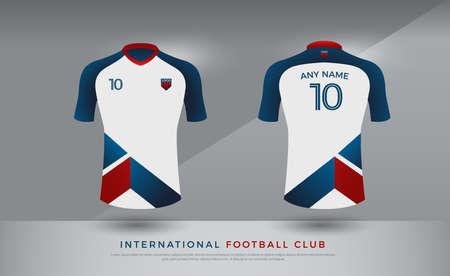 Soccer t-shirt design uniform set of soccer kit. Football jersey template for football club. Illustration