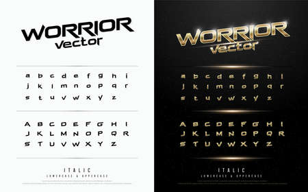 Technology alphabet golden metallic and effect designs for logo, Poster, Invitation. Çizim