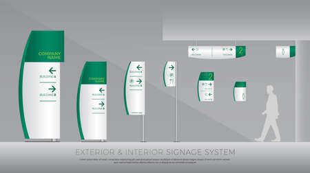 Exterior and interior signage system. direction, pole, wall mount and traffic signage system design template set.