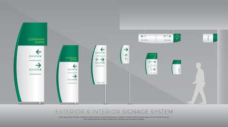 Système de signalisation extérieure et intérieure. direction, poteau, support mural et ensemble de modèles de conception de système de signalisation routière. Vecteurs