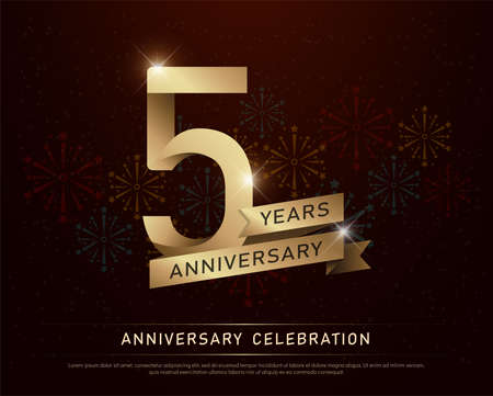 5th years anniversary celebration gold number and golden ribbons with fireworks on dark background. vector illustration