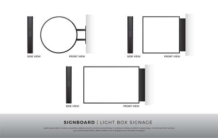 Signboard Blank Round, Square, Rectangle lightbox signage Mockup Template Mounted on the Wall. vector illustration Stock Illustratie