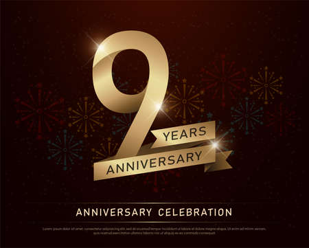 9th years anniversary celebration gold number and golden ribbons with fireworks on dark background. vector illustration 版權商用圖片 - 97469821