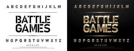 Technology alphabet golden metallic and effect designs for logo, Poster. Vectores