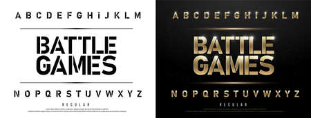 Technology alphabet golden metallic and effect designs for logo, Poster. Иллюстрация