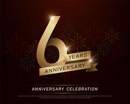 Celebración de aniversario de 6 años número de oro y cintas doradas con fuegos artificiales sobre fondo oscuro. ilustración vectorial