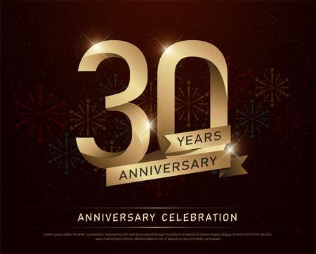 Celebración de aniversario de 30 años número de oro y cintas doradas con fuegos artificiales sobre fondo oscuro. ilustración vectorial