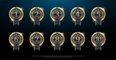 Award gouden label van eerste, tweede en derde winnaar. 1e, 2e, 3e, 4e, 5e, 6e, 7e, 8e, 9e, 10e. Vector illustratie Vector Illustratie