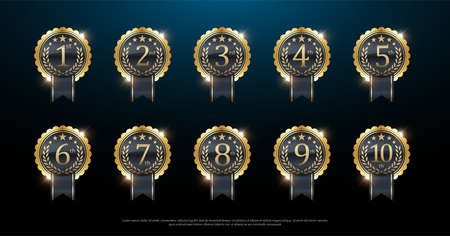 Premio etichetta d'oro di primo, secondo e terzo vincitore. 1 °, 2 °, 3 °, 4 °, 5 °, 6 °, 7 °, 8 °, 9 °, 10 °. Illustrazione vettoriale Vettoriali