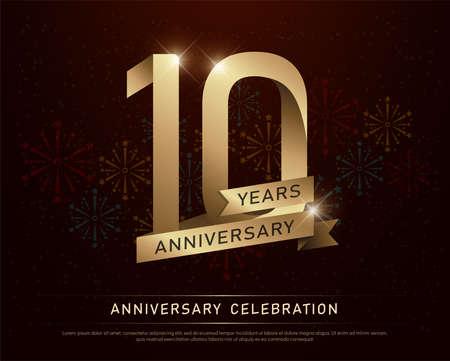 Célébration anniversaire anniversaire célébration numéro or et rubans d & # 39 ; or avec des feux d & # 39 ; artifice sur fond sombre. illustration vectorielle Banque d'images - 97473813