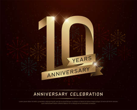 10th years anniversary celebration gold number and golden ribbons with fireworks on dark background. vector illustration