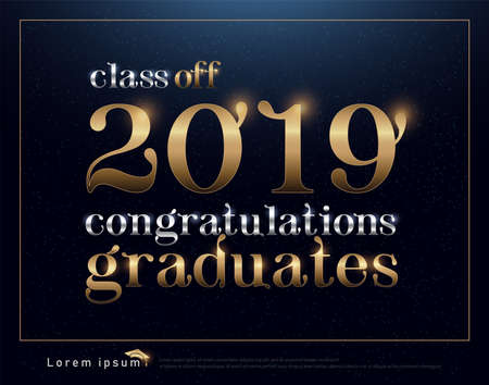 Class of 2019 Congratulations Graduates  gold and silver text with abstract dark background. vector illustration Stock Illustratie