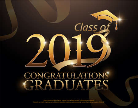 Class of 2019 Congratulations Graduates gold text with golden ribbons on dark background Vectores