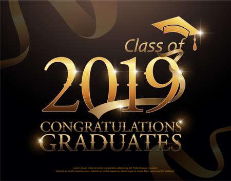 Klasa 2019 Gratulacje Absolwenci złoty tekst ze złotymi wstążkami na ciemnym tle