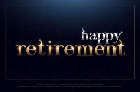 happy retirement party silver and golden on blue background. retirement design for banner, card, t shirt or printing. vector illustration