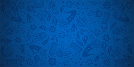 Blue background pattern template.  vector illustration Çizim