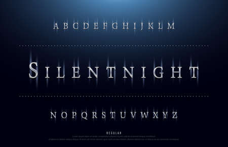Science movie font with lighting effect on night background. technology, sci-fi alphabet glowing letters. vector illustration  イラスト・ベクター素材