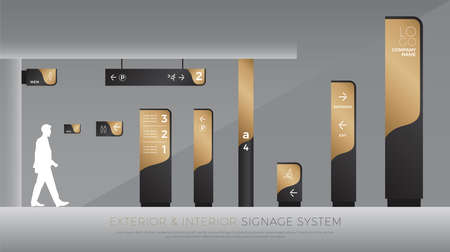 exterior and interior signage concept. direction, pole, wall mount and traffic signage system design template set. empty space for logo, text, black and gold corporate identity Ilustração