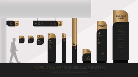 Exterior and interior signage concept. Direction, pole, wall mount and traffic signage system design template set. Empty space for icon, text, black and gold corporate identity.