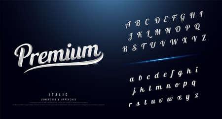 Set of elegant silver colored metal alphabet font. Typography classic style serif font vector illustration. Stock Illustratie