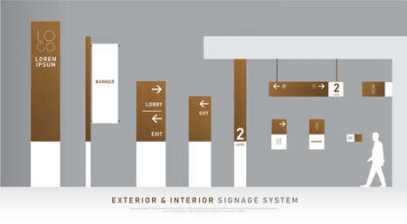 exterior and interior signage wooden concept. direction, pole, wall mount and traffic signage system design template set. Illustration