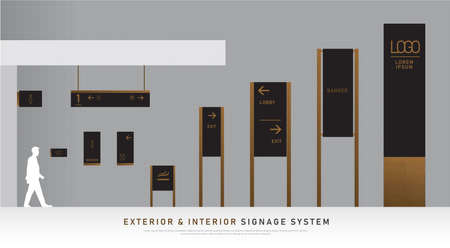 exterior and interior signage wooden concept. direction, pole, wall mount and traffic signage system design template set. empty space for logo, text, black and wood corporate identity Vettoriali