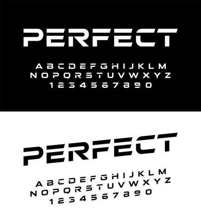 les polices et les nombres de l'alphabet moderne de sport. Police de typographie en majuscules et nombre. illustrateur de vecteur