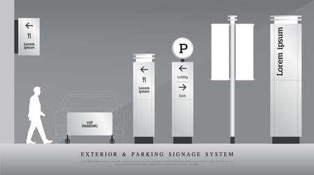 Señalización exterior y estacionamiento. Conjunto de plantillas de diseño de sistema de señalización direccional, de poste y de tráfico. espacio vacío para logo, identidad corporativa de texto Logos