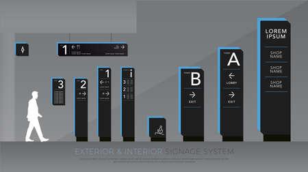 exterieur en interieur bewegwijzering. ontwerpsjabloon set voor richting-, paal- en verkeersborden. lege ruimte voor logo, tekst blauwe en zwarte kleur huisstijl