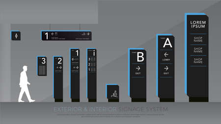 Señalización exterior e interior. Conjunto de plantillas de diseño de sistema de señalización direccional, de poste y de tráfico. espacio vacío para logotipo, texto identidad corporativa de color azul y negro