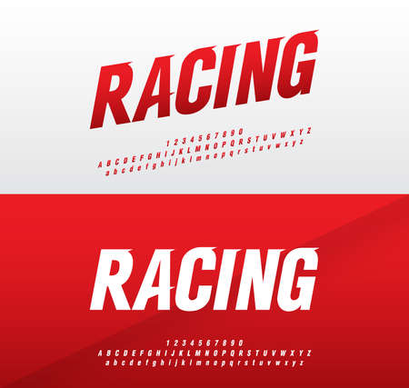 polices d'alphabet et de nombres modernes de sport. Racing typographie police italique majuscules et minuscules. illustrateur de vecteur Vecteurs