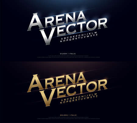 Elegant Silver and Golden Colored Metal Chrome Alphabet Font. Typography modern style gold font italic set. vector illustration