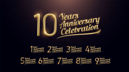 1, 2, 3, 4, 5, 6, 7, 8, 9, 10 years anniversary celebration gold number and golden graphic dark background. vector illustration Illustration