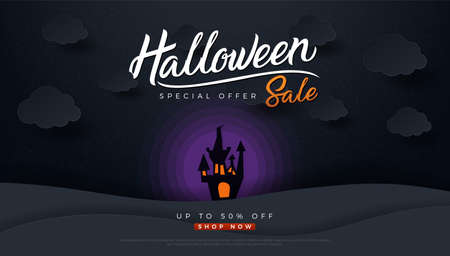 Halloween sale castle and full moon paper art carving style. Flyer or invitation template for Halloween party, printing, sale. Vector illustration