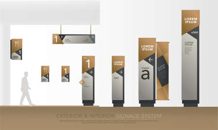 exterior and interior green eco signage concept. direction, pole, wall mount and traffic signage system design template set. empty space for logo, text corporate identity
