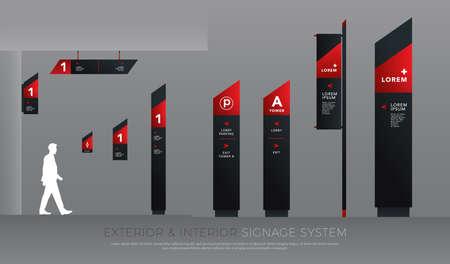 concept de signalisation extérieure et intérieure. ensemble de modèles de conception de système de direction, de poteau, de support mural et de signalisation routière. espace vide pour le logo, le texte, l'identité d'entreprise en noir et rouge