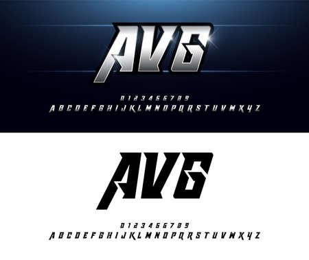 Motifs alphabet et effets métalliques argentés. Polices italiques de typographie de lettres argentées élégantes. concept de technologie, sport, film et science-fiction. illustrateur de vecteur