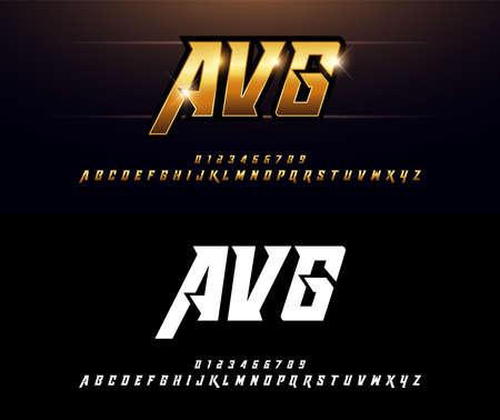 Diseños de alfabeto dorado metalizado y efecto. Elegante fuente cursiva de tipografía de letras doradas. concepto de tecnología, deporte, película y ciencia ficción. ilustrador vectorial